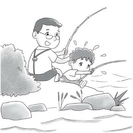 钓鱼看图写话(带拼音)