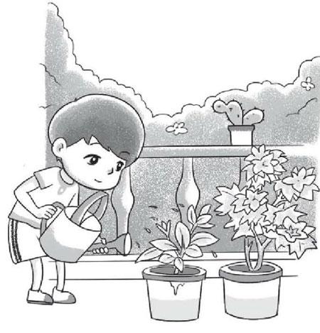给小花浇水看图写话(带拼音)