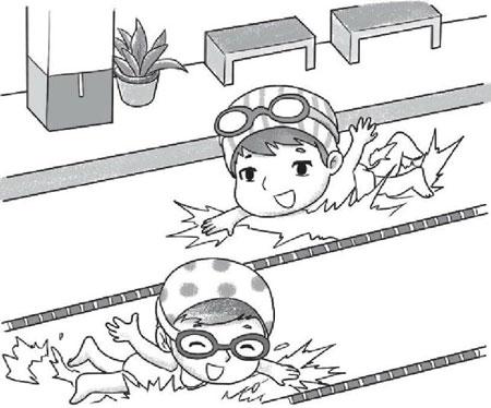游泳看图写话(带拼音)