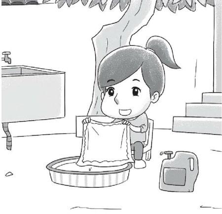 洗手绢看图写话(带拼音)