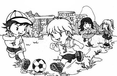 踢足球看图写话(带拼音)